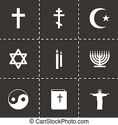 Vector black religion icons set on black background