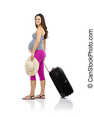 Pregnant woman traveling - Beautiful pregnant woman in...