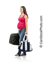 Pregnant woman travelling - Beautiful pregnant woman with...
