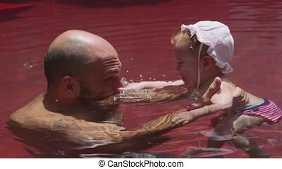 Baby, child, swimming pool, father - Happy people, family,...