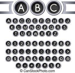 Typewriter buttons alphabet - Vintage typewriter round...