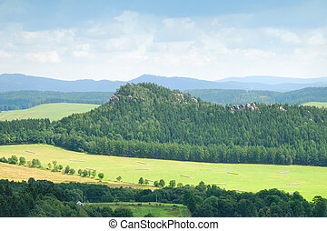 Forest hill with sandstone towers in Adrspach, Czech Republic