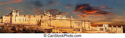 India landmark - Jaipur, Amber fort panorama
