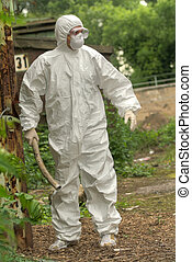 Chemical Worker with rod - chemical worker walking in the...