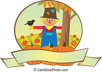 Scarecrow Banner - Cute scarecrow is standing in a pumpkins...