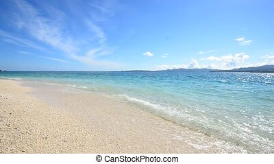 Gorgeous Beach in Summertime - The cobalt blue sea and blue...