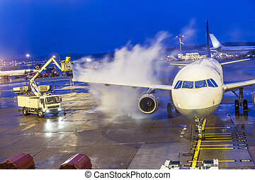 Deicing of an aircraft in winter time