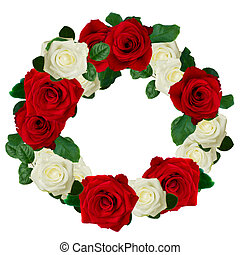 red and white roses wreath isolated on white background