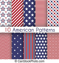 Patriotic red, white and blue geometric seamless patterns...