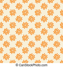 Seamless pattern with abstract orange flowers. Vector...