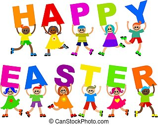 happy easter - A group of cute diverse kids holding up...
