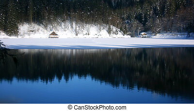 Fusine lower lake hut panorama - View of lower lake and hut...