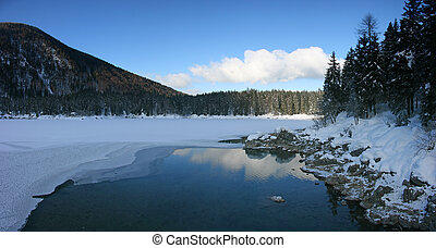 Fusine higher lake panorama - Panoramic winter view of...