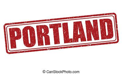 Portland stamp - Portland grunge rubber stamp on white...
