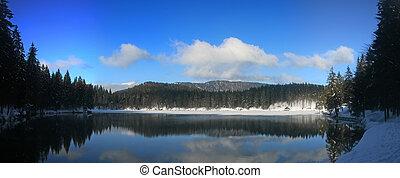 Fusine lower lake panorama - Panoramic winter view of lower...