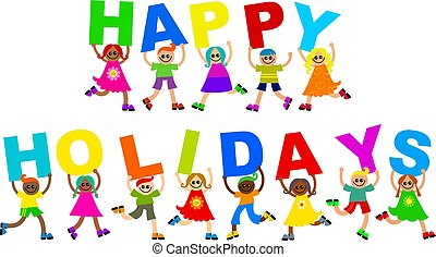 happy holidays - A group of cute and diverse children...
