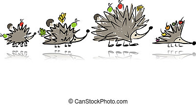 Funny hedgehog family, sketch for your design