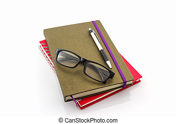 Group of  book ,pen and glasses .