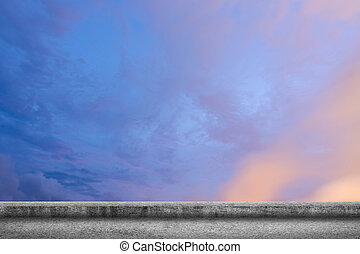 concrete ground with cloudy sky - Background of concrete...