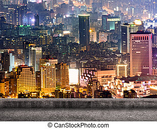 Taipei city night scenery with concrete ground and nobody