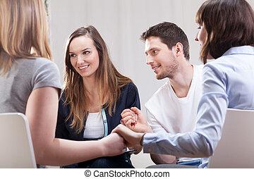 gente, satisfecho, grupo, terapia
