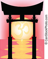 Japanese Tori Gate Sunset - A typical Japanese Tori over an...