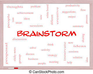 Brainstorm Word Cloud Concept on a Whiteboard