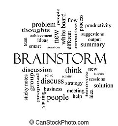 Brainstorm Word Cloud Concept in black and white