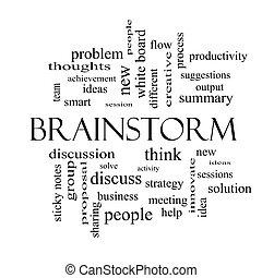 begrepp, ord, svart, vit, Kläckning av ideer, moln