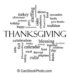 Thanksgiving Word Cloud Concept in black and white with...