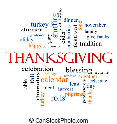 Thanksgiving Word Cloud Concept with great terms such as...