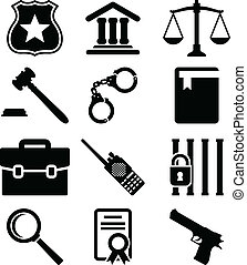 Law and justice icons set.