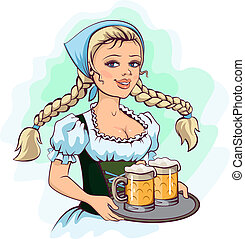 Oktoberfest girl waitress holds tray of beer Vector cartoon...