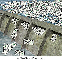 Dam with money flowing - 3d render of a dam with money...