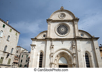 Sibenik landmarks - Famous Cathedral of St James in Sibenik,...