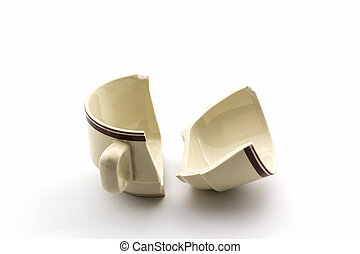 Broken coffee cups on white background - Close up Broken...