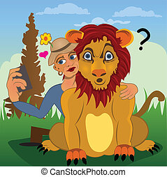 extreme selfie - Man is trying to get a selfie with a lion....