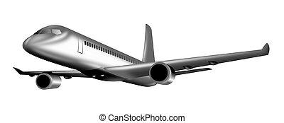Jet plane in full flight