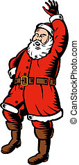 Santa Claus full body woodcut - Illustration of Santa Claus...
