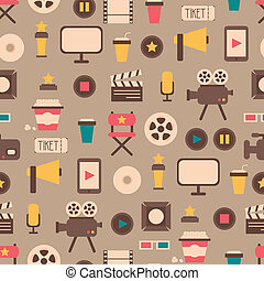 Seamless pattern of flat colorful movie design elements and...