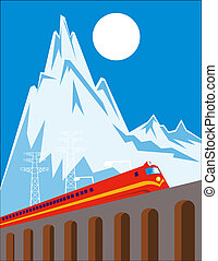 Train on viaduct on high mountain - Illustration of a train...