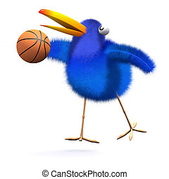 3d Bluebird plays basketball - 3d render of a bluebird...