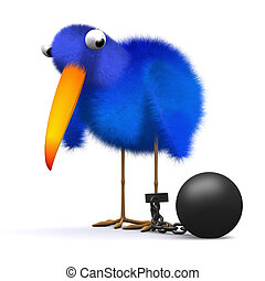 3d Bluebird has a ball and chain - 3d render of a bluebird...