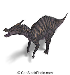 Dinosaur Saurolophus. 3D render with clipping path and...