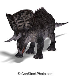 Dinosaur Zuniceratops. 3D render with clipping path and...