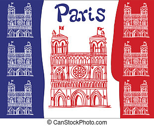 France - Notre Dame de Paris - Illustration depicts the...