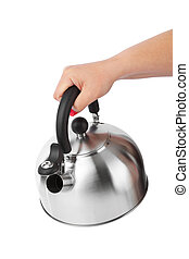 Stovetop whistling kettle in hand isolated on white...