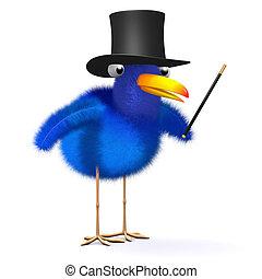3d Bluebird is a magician - 3d render of a bluebird wearing...