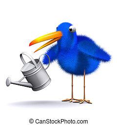 3d Bluebird waters the garden - 3d render of a bluebird with...