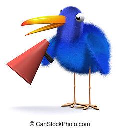 3d Bluebird with a bullhorn - 3d render of a bluebird...